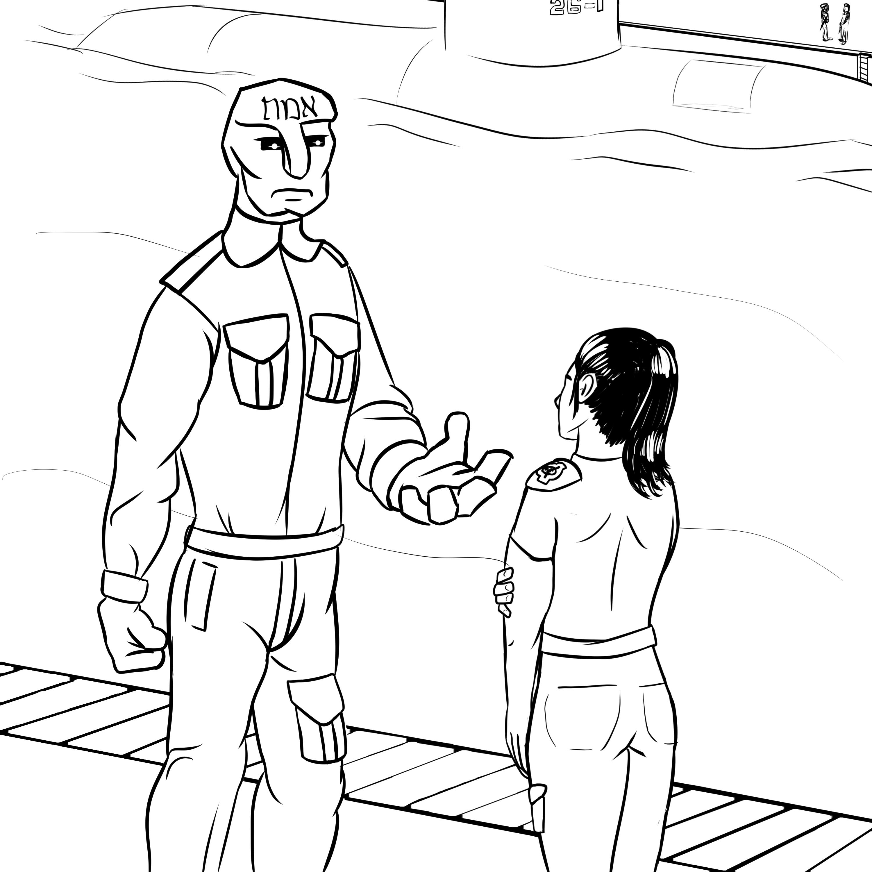 Florence parle avec Josef, le Golem de Prague, dans la baie sous-marine du Site-246.
