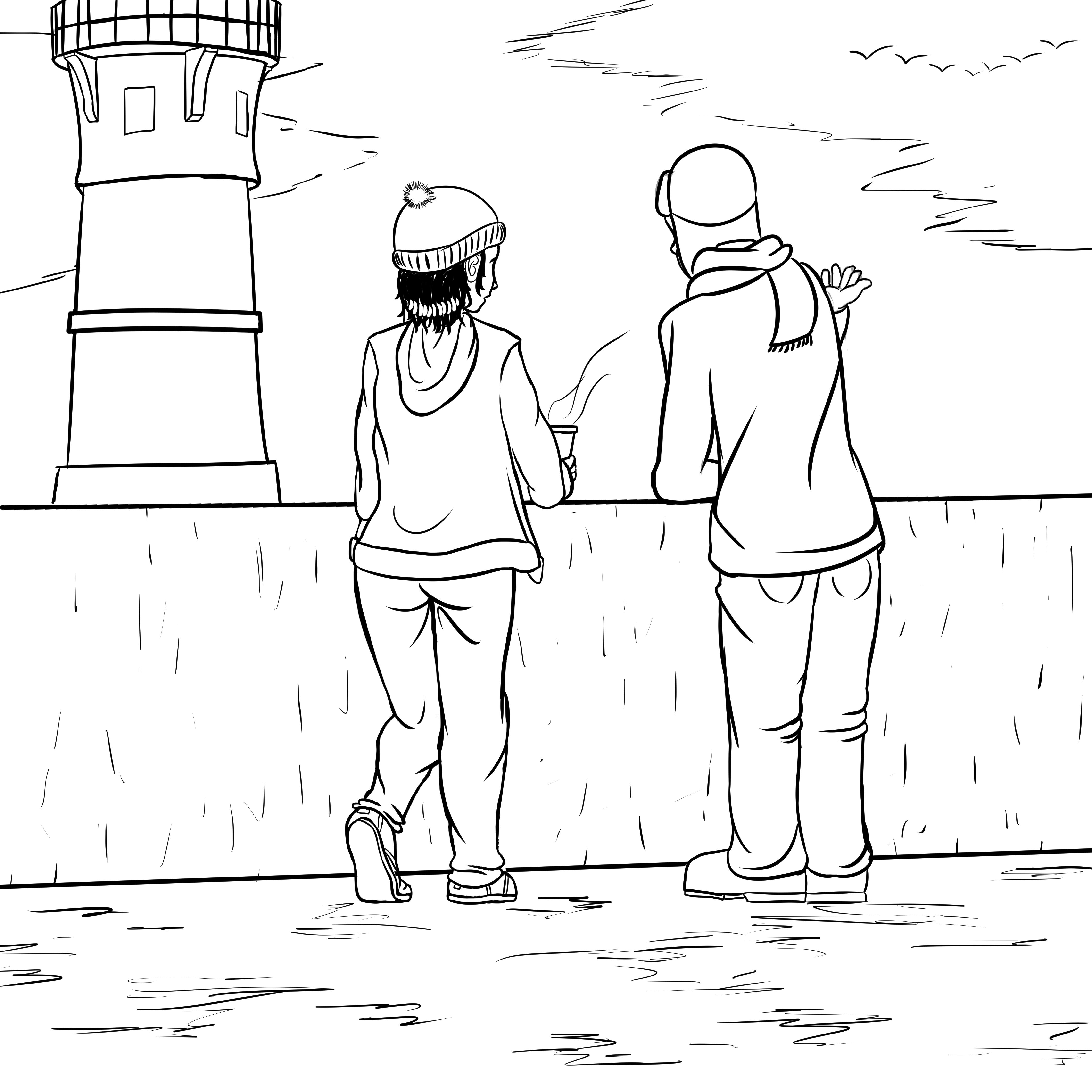 Florence et Westbrook se tiennent sur la jetée de Duluth et regarde le Lac Supérieur en parlant.