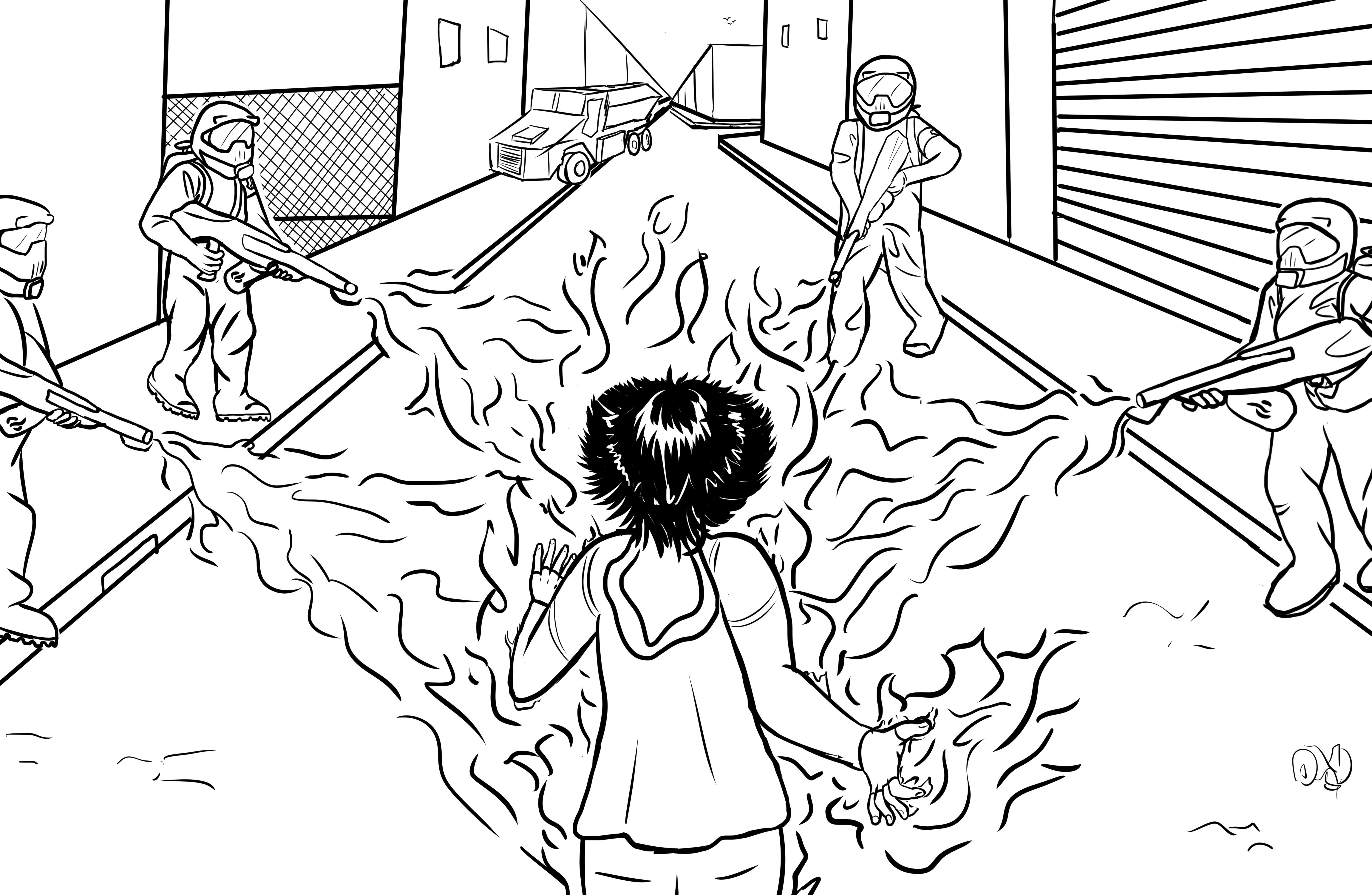 Florence fait face à quatre personnes tenant des lance-flammes.