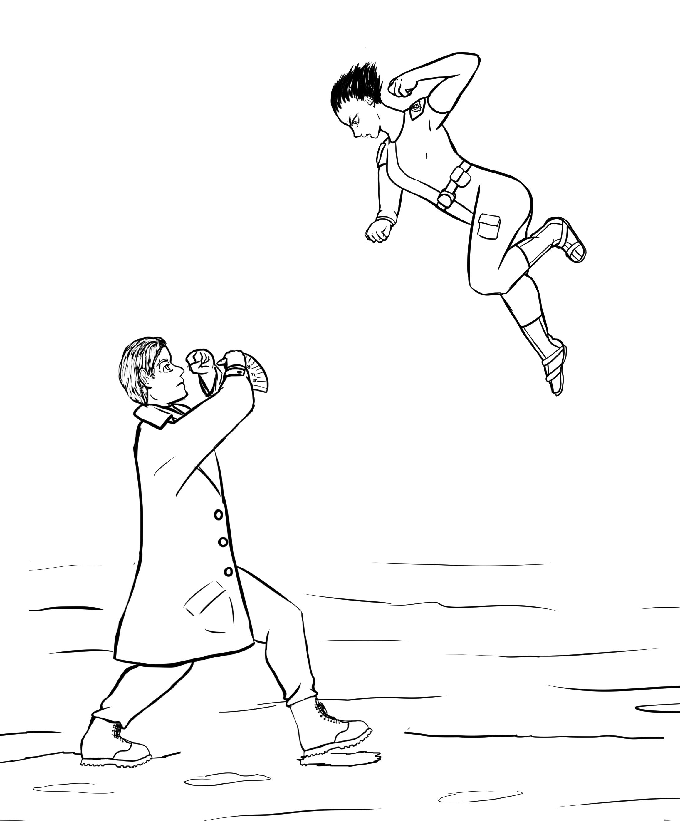 Florence se prépare à frapper Maximilian Bauer dans la tronche.
